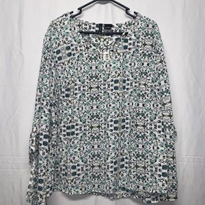 New Directions Flower Print Blouse Size XL